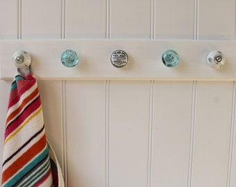 Bathroom hanger/hooks, 5 Knob Blue & White towel/flannel/dressing gown rail for wall or door, made with sustainable timber