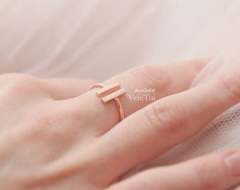 Minimalist Simple Slim Flat Bar Brushed Adjustable Ring in Pink Rose Gold