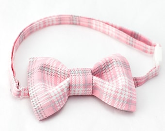 Pink, Grey & White Plaid Bow Tie - Boys Bow Tie, Pink Baby Bow Tie, Plaid Bowtie, Plaid Bow Tie for Boys, Boys Bowties, Wedding Bowtie Boy