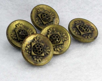 Set of 5 Antique Vintage Brass Sewing Buttons ~ 5/8 inch 15mm ~ Perforate Pierced Dome in Center with Floral Design Surround Wire Shank