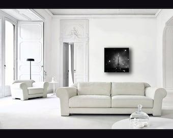 Paris Decor, Eiffel Tower Print on Canvas, Black and White, Large Canvas Art, Starry Night Sky, Paris Canvas