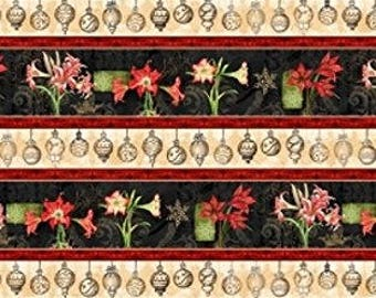 Christmas in Bloom Cotton Quilt Fabric Repeating Stripe By the yard   Bfab