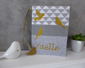 Protects health book gray and white, gold glitter birds customizable bird bookmark