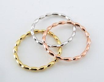 Gold Ring - Silver Ring - Rose Gold Ring - Trio Ring - Rice Dot Ring - Stacking Rings