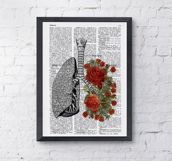 Lungs with red roses human Anatomy Print - Anatomy art gift, love art, human anatomy art, lungs and roses art SKA064