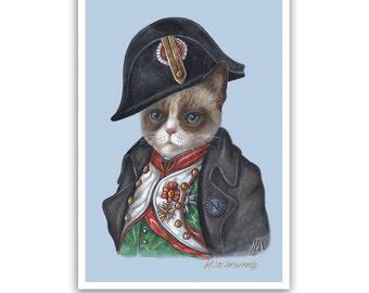 The Cat Napoleon - Cat Art Print - Cats in Clothes, Cute Cat Prints - Bonaparte - French Wall Art - Funny Pet Portraits by Maria Pishvanova