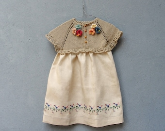 Linen Baby Girl Dress, Baby Child Linen Dress size T1 Vintage Hand Embroidery Floral Lace Fabric Clothing