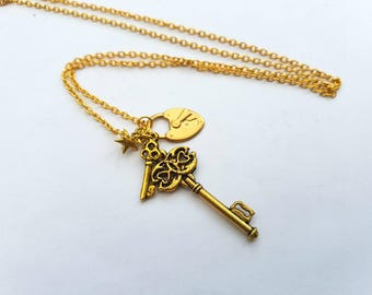 Lock and key necklace, gold padlock, keys and star charms on chain, key to my heart, best friends jewellery