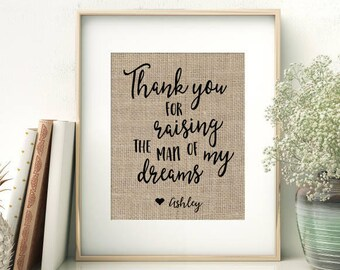 Thank You For Raising The Man of My Dreams | Wedding Gift for Parents of the Groom | Gift From Bride | Mother-in-Law Gift | Mother of Groom