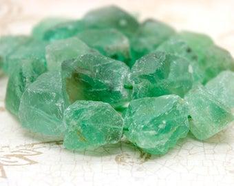 Rough Fluorite Natural Nugget Gemstone Beads