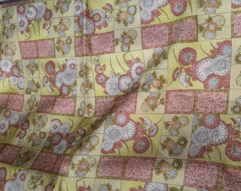 Vintage Japanese silk kimono fabric 92 cm x 36 cm yellow floral patchwork squares and rectangles.