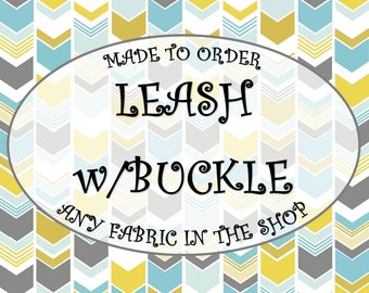 LEASH w/BUCKLE - Personalized Dog Leash with Buckle - Matching Fabric Dog Leash - Custom Embroidered Leash with Buckle from Wuppy Wear