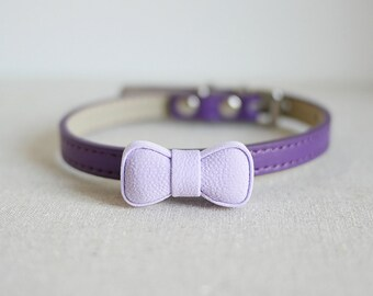 Free Shipping - Purple mini cat bow tie with leather and D ring light weight collar