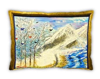 Item #72 Nine Birds Pillow (12x16)