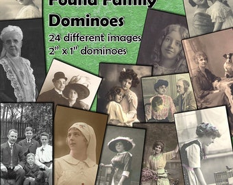 "Found Family Photos Dominoes Digital Collage Sheet  - 2"" x 1"" domino size tags  x 24 - Mixed Media images for crafting projects"