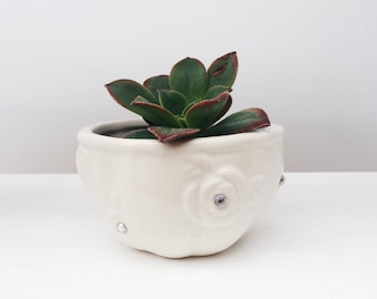 White Studded pot - small miniature succulent planter