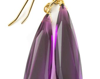 Deep Purple simulated Amethyst Earrings Facet Large Long Dangle 14k Gold or Filled or Sterling Silver Classic Simple Clean 2 Inch Drops