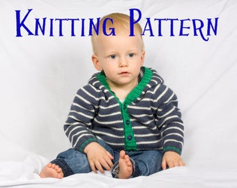 PDF Knitting Pattern - Little Star Hooded Cardigan, Knit Baby Hoodie Pattern, Baby Toddler Sweater Knitting Pattern, Infant Cardigan