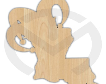 Unfinished Wood Louisiana with Jester Hat Laser Cutout, Wreath Accent, Door Hanger, Ready to Paint & Personalize, Various Sizes