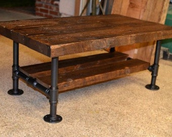 Awesome Reclaimed Solid Wood U0026 Iron Pipe Coffee Table