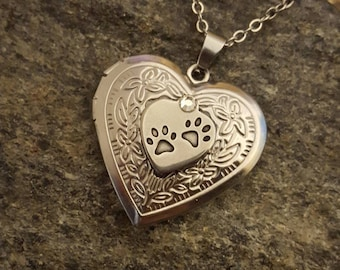 Embossed Stainless Steel Paw Heart Locket w/Glass Vessel | Pet Cremation Jewelry | Urn Jewelry | Pet Memorial | Urn Locket | Paw Print Urn