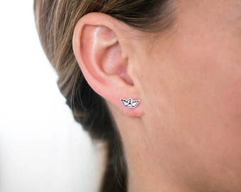 Paper Boat Earrings. Origami Boat Earrings. Silver Studs. Origami Jewelry. Minimalist. Gift for Her. Nautical. Ready to Ship. Small Studs