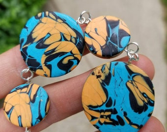 Handmade polymer clay blue/orange beaded bracelet