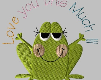 Machine Embroidery Design-Primsy Frog-04 includes 3 sizes!