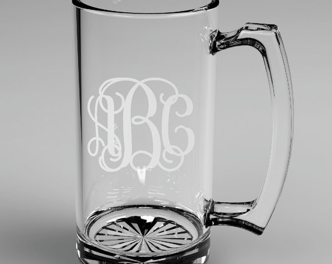 6 Personalized Groomsman Vine Monogram Beer Mugs Custom Engraved Wedding Gift.
