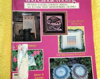 Womens Circle-Counted Cross Stitch and Candlewicking from 1986