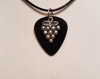Vinyl Record - Guitar Pick Necklace - Wine Grapes