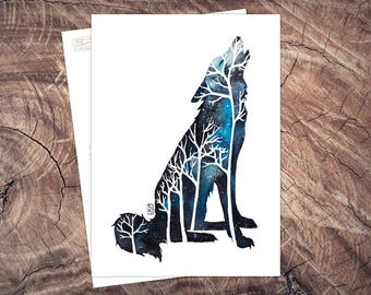Wolf Night-postcard illustration A6, watercolour, pressure climate neutral