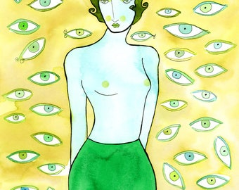 All Eyes on Her, Art Print-Surrealist Print, Eye Art, Voyeurism, Voyeur, Eys, Surrealism, Green and Blue Print