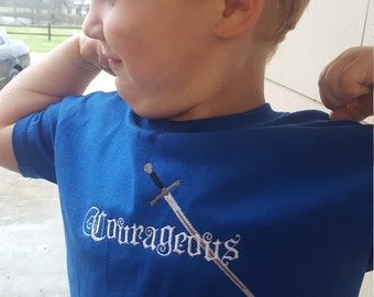 Courageous, Sword, Embroidered Boys T-shirt, 2t-6t Gildan Cotton, Kids Shirt, Toddler T shirt,