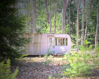 Rustic Photograph, Pink Trailer Camper in the Woods, Pink Green Art Print, Pennsylvania Art Home Decor, Surreal Forest