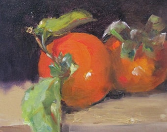 Persimmons fruit still life original oil painting Art by Delilah