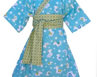 Kimono Dress in HORSE PLAY Yukata Modern Kimono Girls Baby Toddler Japanese