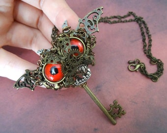 Steampunk Dracula castle monster key