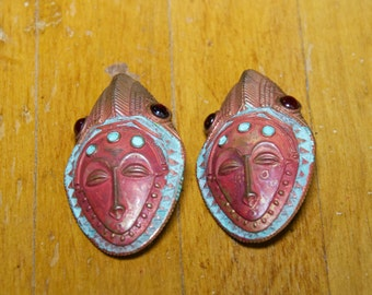Vintage African Mask Clip Earrings