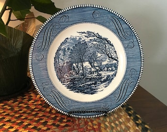 Vintage Currier and Ives Grist Mill Dinner Plates