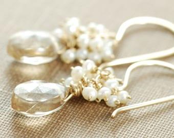 Citrine Seed Pearl Dangle Earrings 14k Gold Fill, Wire Wrapped Gemstone Earrings, aubepine