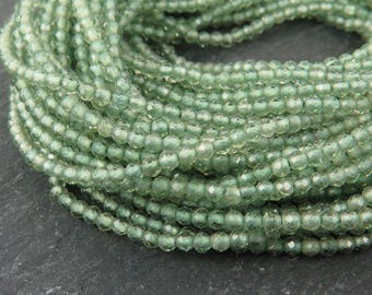 """AAA Green Apatite Faceted Rondelles 2mm ~ 13"""" Strand"""