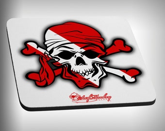 Dive Pirate Skull Mouse Pad Custom Graphic Novelty Mousepad Great Gift Customized Personalized