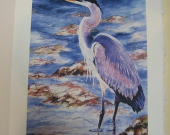 Great Blue Heron Note Card 5x7 Watercolor print WatercolorsNmore Florida Bird Blue Heron Art