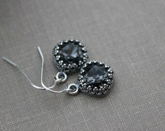 Crystal Silver Night Swarovski Crystal Earrings - antiqued silver bezel  Sterling silver Ear wires Sparkling - Deep gray silver sparkle