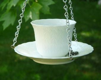 Tea Cup Bird Feeder, White Silk