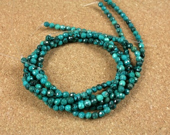 Chinese Turquoise Faceted Round Beads - Smooth Teal and Black Beads, 4mm