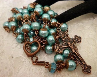 Ocean Blue Pearl And Copper Rosary