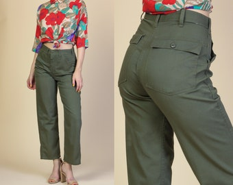 70s Olive Drab Army Utility Trousers - Small to Medium | Vintage High Waisted Military Pants