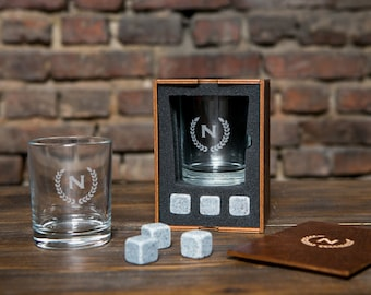 Personalized whiskey glass and 3 whiskey stones in personalized wood box, groomsmen gift set, gifts for him, gift for husband, whiskey gift